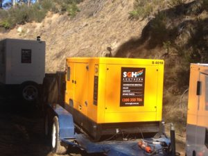 Southern Generator Hire Canberra are supplying three trailer mounted generators to a company carrying out maintenance to dam tunnels throughout the Snowy Mountains.